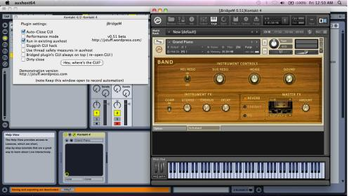 Ableton Live ( 32bit ) running Kontakt4 ( 64bit ) through jBridgeM